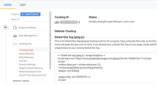 Your Google Analytics tracking code