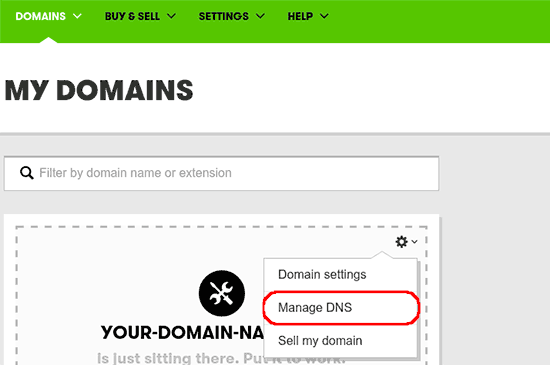 Start DNS-beheer in GoDaddy