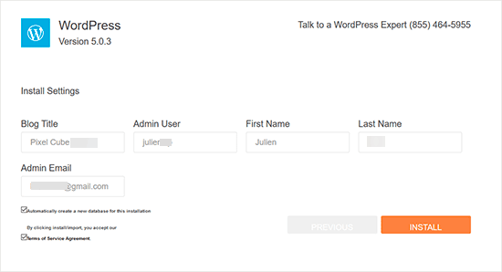 QuickInstall WordPress site settings