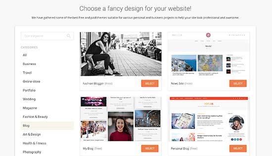 Opción de diseño de inicio de WordPress SiteGround