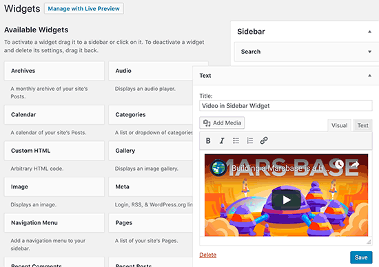 Embed videos in WordPress sidebar widget