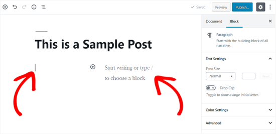 Columns block WordPress in WordPress added to post