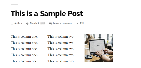 3 Columns in WordPress Post - Preview