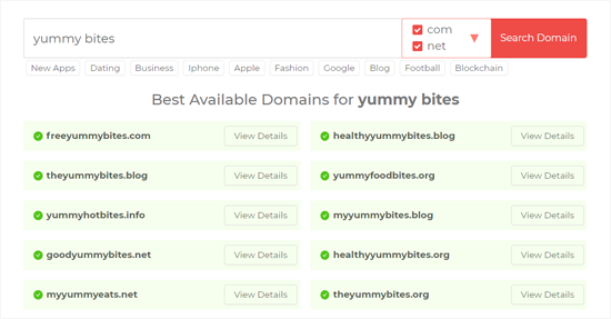 Domain Wheel Blog Name Search Results
