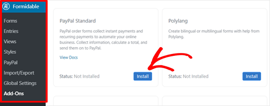 Installeer PayPal Standard Add-on in formidabele formulieren