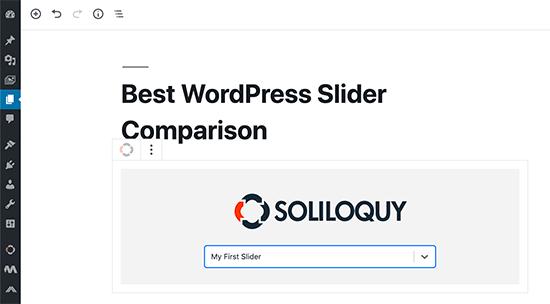 Soliloquy-blok in de Gutenberg-editor