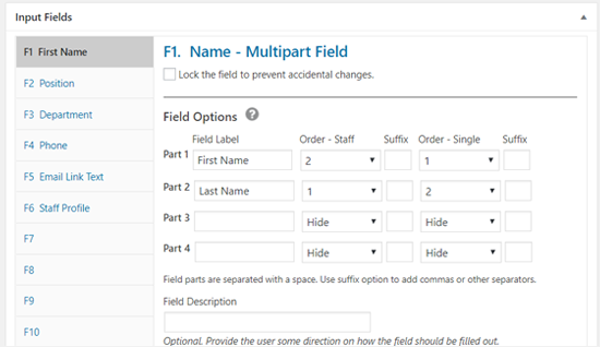 Staff List Field Options WordPress