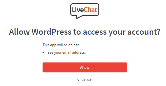 Allow WordPress to Access LiveChat account