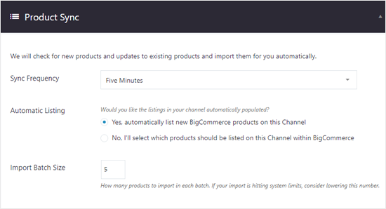 BigCommerce for WordPress Product Sync Options