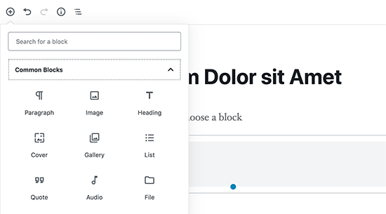 Using blocks in WordPress content editor
