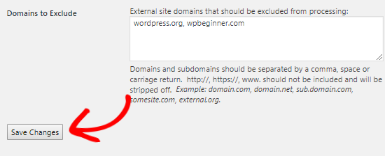 Domains to exclude nofollow attribute