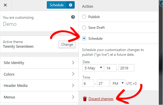 Schedule Customizer settings on a specific date