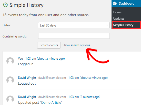 Simple History user activity log