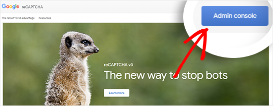 Visit Google reCAPTCHA website