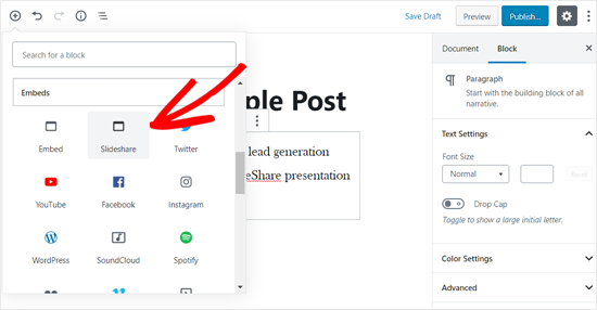WordPress Post Editor'da SlideShare Embed Block ekle