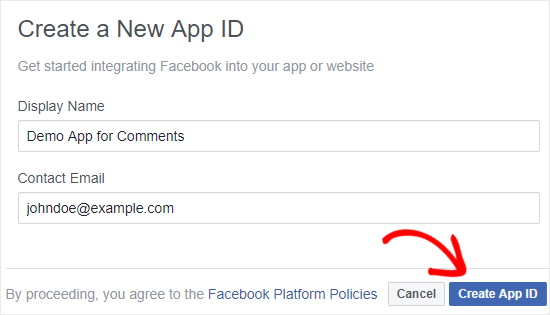 Create a new Facebook app