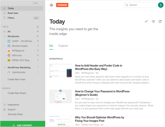 Feedly News Aggregator  Website