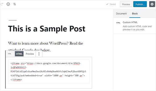 WordPress Post'a Eklenen Google Doküman Gömme Kodu