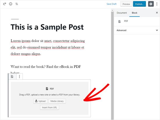 WordPress Düzenleyicide Eklenen PDF Bloğu