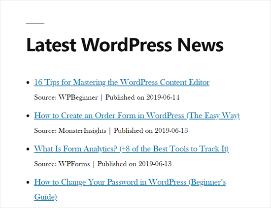 RSS News Feed in WordPress Site Demo