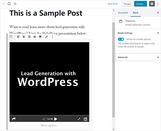 WordPress Editör'de eklenen SlideShare Sunumu