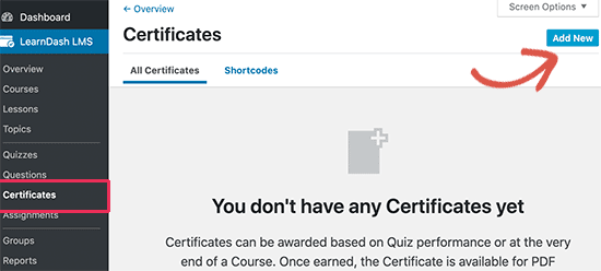 Add new certificate