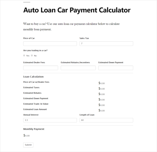 Auto Loan Car Payment Calculator in WordPress Site preview