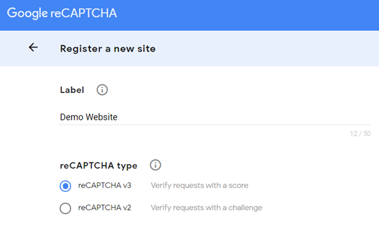 Register a New Site for Google reCAPTCHA
