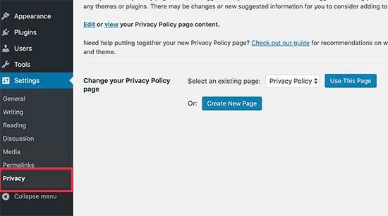 Privacy policy generator in WordPress