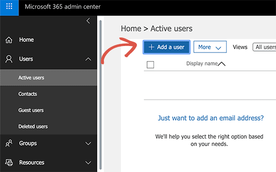 Add user in Office 365