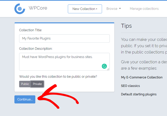 Create a New Plugin Collection on WPCore