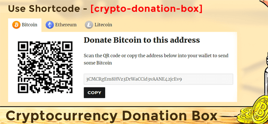 how to accept cryptocurrency donations on wordpress