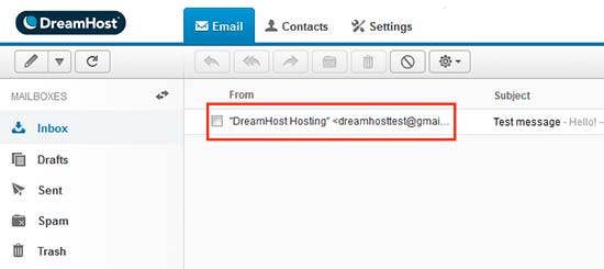 Interfaccia webmail di Dreamhost