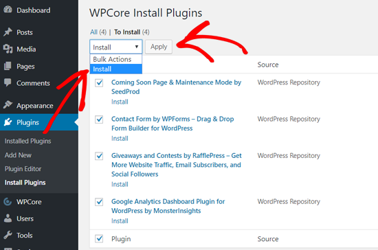 Install WordPress Plugins in Bulk with WPCore