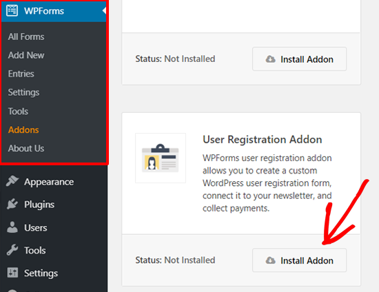 Install WPForms User Registration Addon