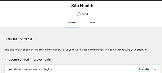 Site health score will be shown as a status in WordPress 5.3