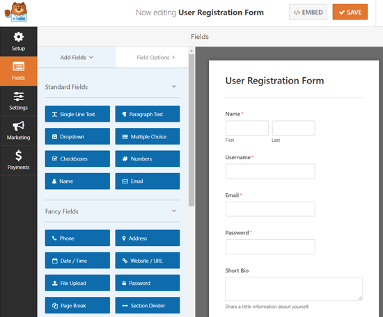 User Registration Form Builder WPForms