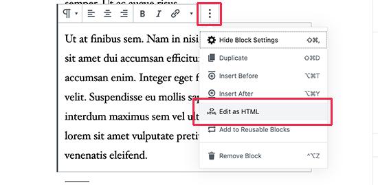 Edit as HTML