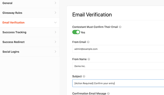 Enable email verification
