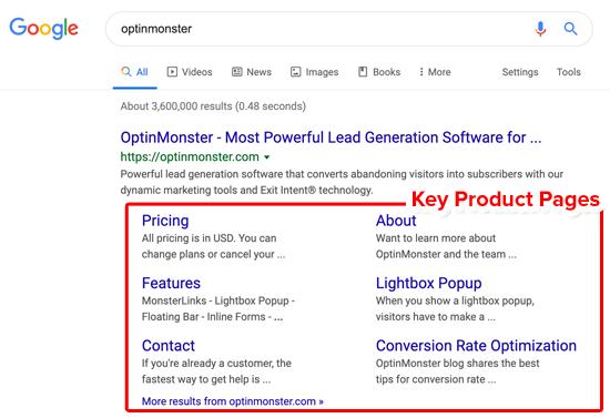 Pagine del prodotto chiave dei sitelink Google