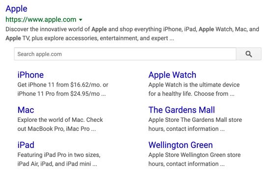 Risultati personalizzati dei sitelink Google