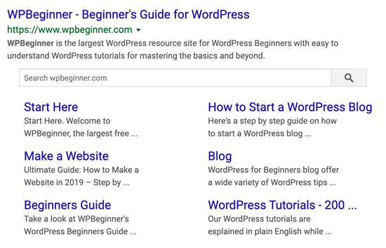 WPBeginner Google Sitelinks