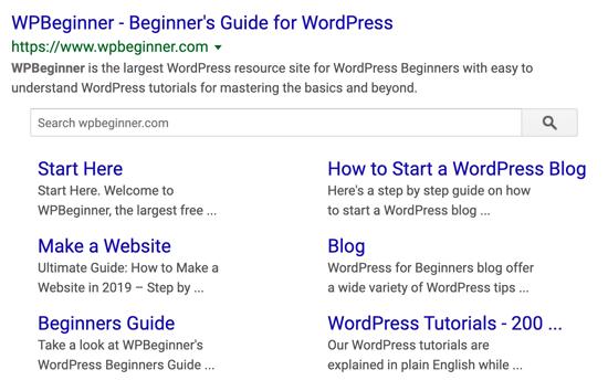 WPBeginner Google Sitelink