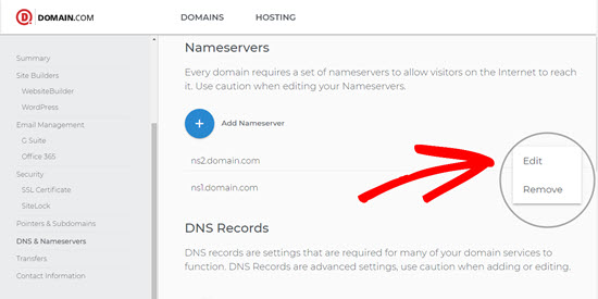 Editing on Domain.com