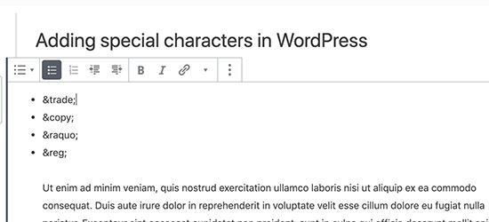 Aggiunta di entità HTML in Gutenberg