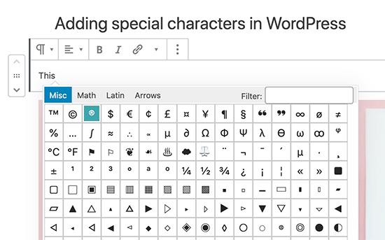 Aggiungi caratteri speciali nell'editor di blocchi Gutenberg WordPress
