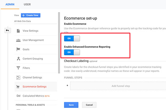 abilitare il commercio elettronico in Google Analytics