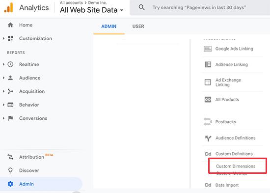 Dimensioni personalizzate di Google Analytics