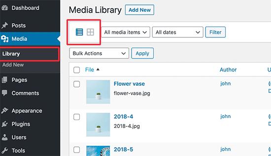 Passa dalla visualizzazione griglia alla visualizzazione elenco nella libreria multimediale di WordPress