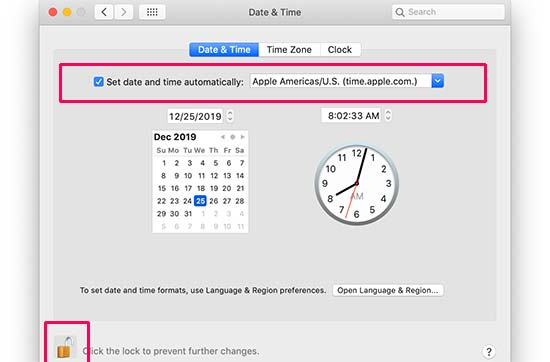 Sync date and time and settings in Mac